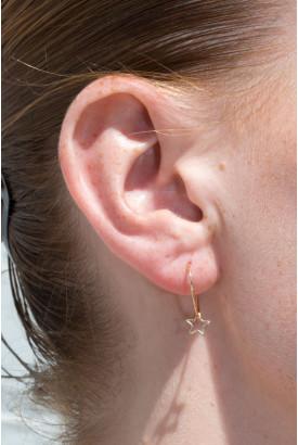 Gold Hollow Star Charm Hoop Earrings