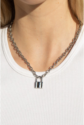 Silver Lock Chain Necklace