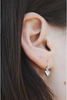 Silver Heart Charm Earrings