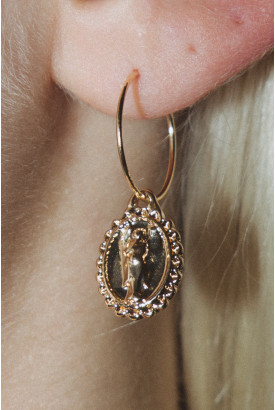 Gold Angel Coin Earrings