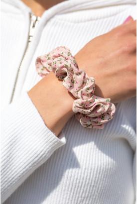 Pink Floral Scrunchie