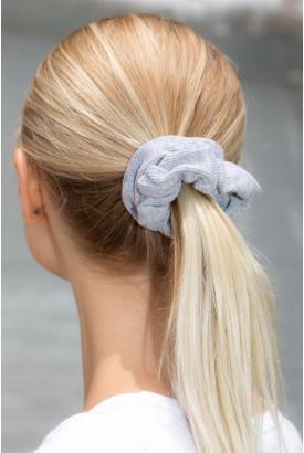 Grey Ribbed Scrunchie