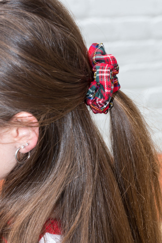 Red and Green Plaid Scrunchie