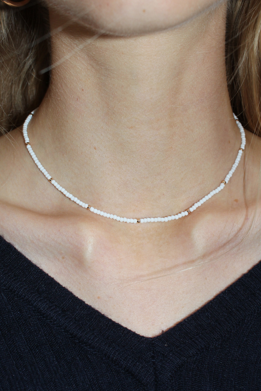 Mini White Beaded Choker