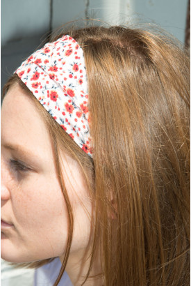 Red and Pink Floral Scarf Headband