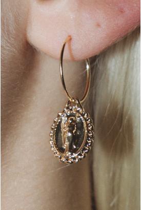 Gold Angel Coin Earrings