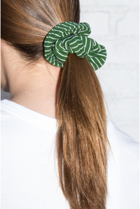 Green and White Stripe Scrunchie